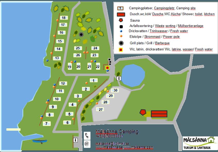 Situationsplan över Målsånna camping
